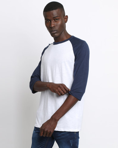 New Look 3/4 Raglan Sleeve T-Shirt Navy