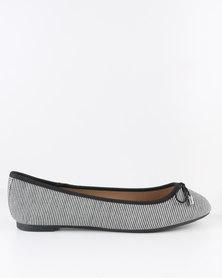 New Look Kez-Stripe Ballet Flats Black/White