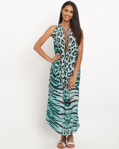 Talooshka Embellished Print Dress Sheba Blue
