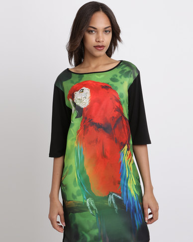 Cheryl Arthur Tropical Parrot Tunic Shift Dress Multi