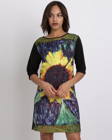 Cheryl Arthur Sunflower Impressionist Tunic Shift Dress Multi