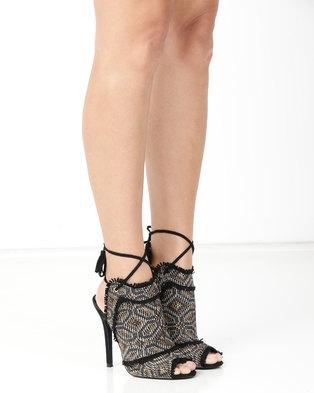 32ed218670e2 Miss Black Fiction Printed Peep Toe High Heel Black