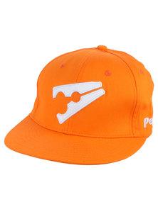 Peg Baseball Flat Cap Orange and White