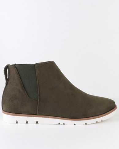 Crouch Suede Chelsea Ankle Boot Dark Green
