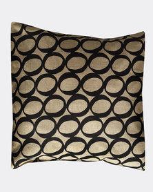 MARADADHI TEXTILES Lucky Bean Design Linen Cushion Cover Black