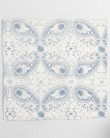 MARADADHI TEXTILES Paisley Design Linen Cushion Cover White