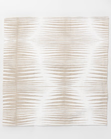 MARADADHI TEXTILES Basket Design Linen Cushion Cover White