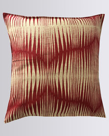 MARADADHI TEXTILES Basket Design Linen Cushion Cover Red