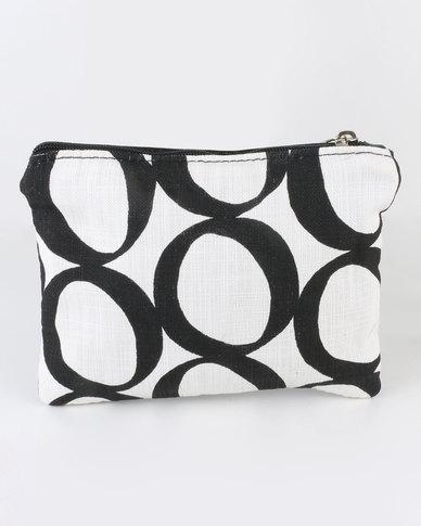 MARADADHI TEXTILES Lucky Bean Leather And Fabric Purse Black/White