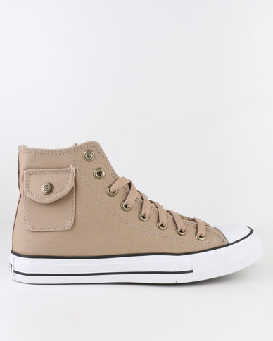 Soviet Westport Vulcanized High Cut Lace Up Canvas Shoe With Pocket Detail Taupe