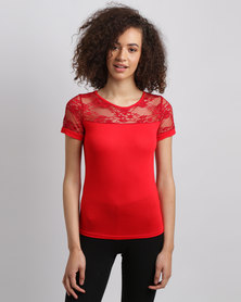Assuili Top With Lace Sleeve Red