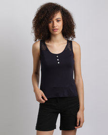 Assuili Lace Tank Top With 3 Buttons Navy