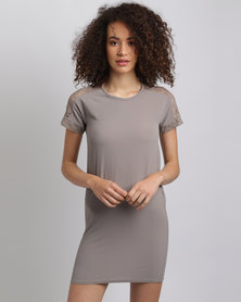 Assuili William de Faye Lace Sleeve Dress Taupe