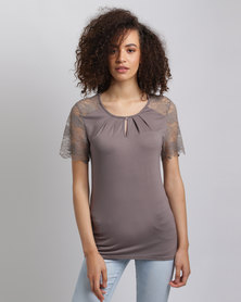 Assuili Top With Lace Inset Desert