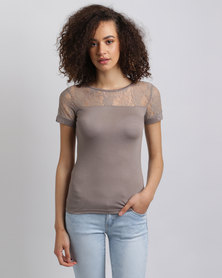 Assuili Top With Lace Sleeve Desert
