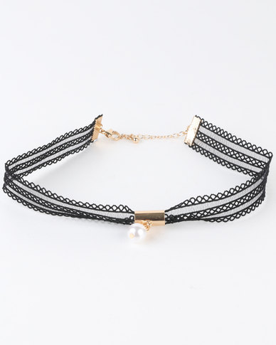 New Look 80s Pearl Drop Mesh Choker Black