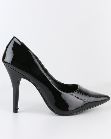 AWOL High Heel Pointy Court Shoe Black