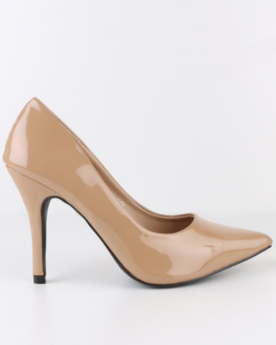 AWOL High Heel Pointy Court Shoe Taupe