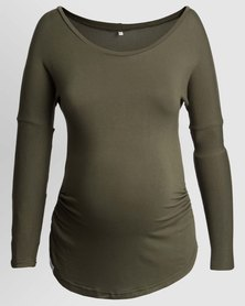 Penelope & Bella Stretchy Maternity Long Sleeve Tee Olive