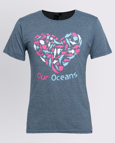 WWF SASSI Our Oceans Ladies T-Shirt Blue Melange