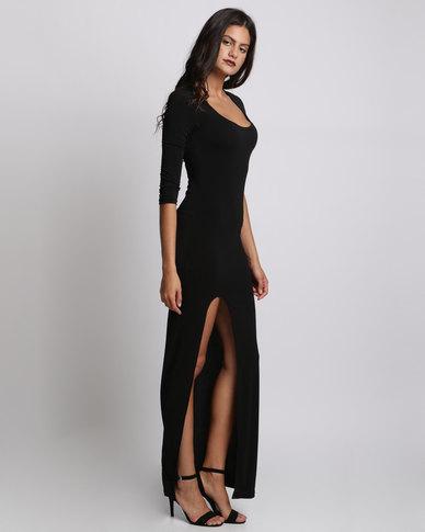 97b4f51da3f Bombshell Scoop Neck High Slit Maxi Dress Black