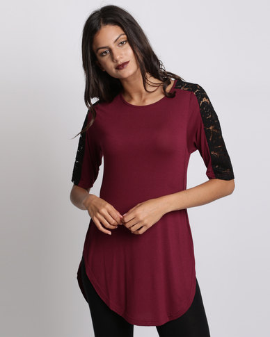 Utopia Tulip Hem Tee With Lace Inset Burgundy