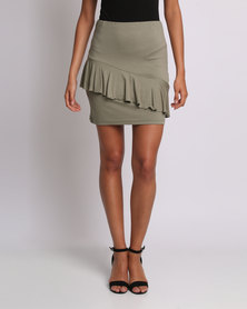 Utopia Ruffle Pencil Skirt Olive