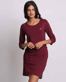 Utopia Basic T-shirt Dress Burgundy