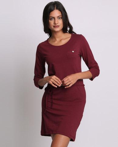 Utopia Basic T-shirt Dress Burgundy