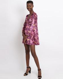 UB Creative Printed Velvet Twist Dress Purple