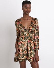 UB Creative Printed Velvet Twist Dress Green