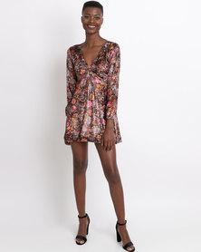 UB Creative Printed Velvet Twist Dress Brown