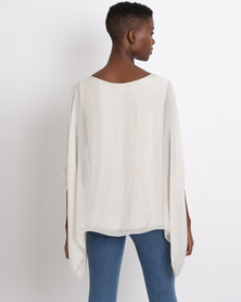UB Creative Plain Silk Top Beige