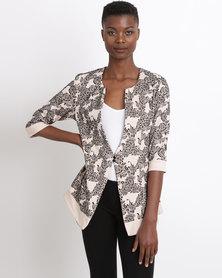 UB Creative Printed Corporate Jacket Cream Grey