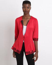 UB Creative Corporate Jacket Plain Mix Print Red