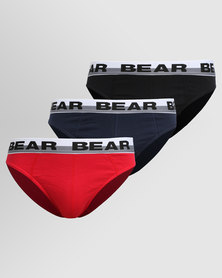 Bear Supreme 3 Pack Mini Plain Red/Black/Navy