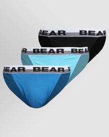 Bear Supreme 3 Pack Tanga Plain Turq/Black/Blue