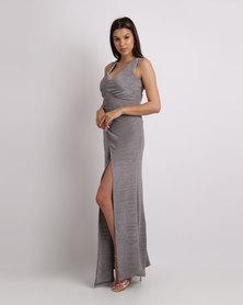 Bombshell Plisse Maxi Dress Silver