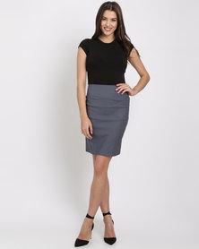 Blu Spiral High Waisted Stretch Skirt Charcoal