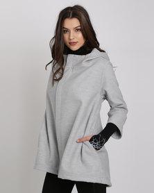 Brava Hooded Swing Coat Light Grey