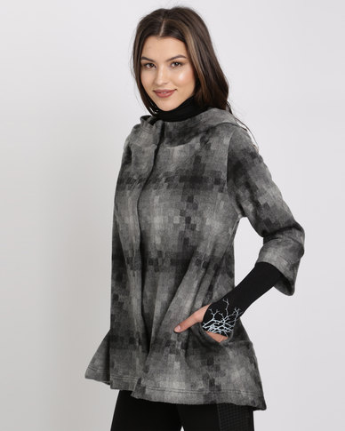 Brava Hooded Swing Coat Multi Grey