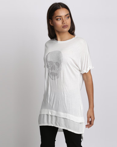 Brave Soul T-Shirt With Hotfix Stud Skull Cream
