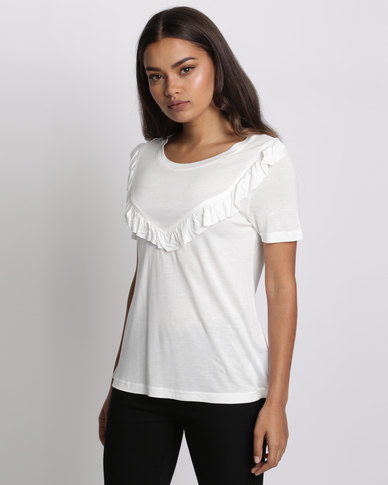 Brave Soul T-Shirt With Frill Detail Cream