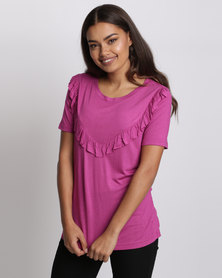 Brave Soul T-Shirt With Frill Detail Washed Cerise