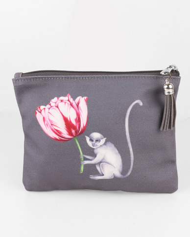 Bloss & Co Canvas Make Up Bag - Monkey & Tulip Design Grey