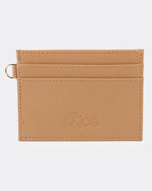 Bloss & Co Saffiano Leather Card Holder Tan