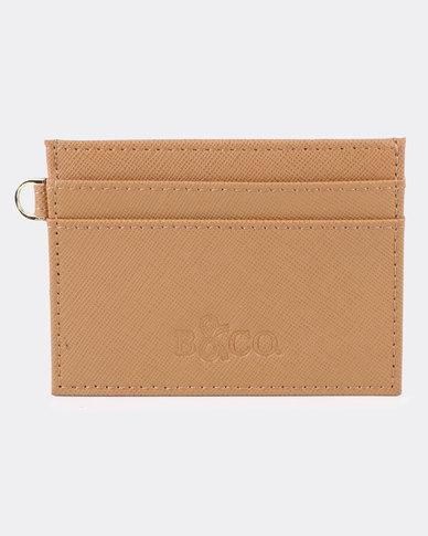 Bloss & Co Saffiano Leather Card Holder Tan