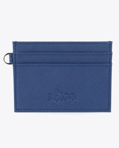 6a14f8bdb3ce Bloss   Co Saffiano Leather Card Holder Blue
