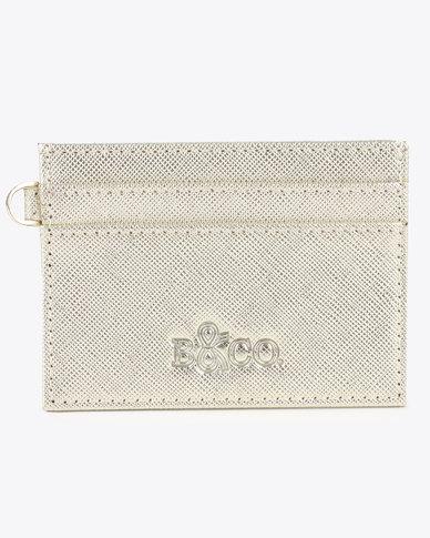 Bloss & Co Saffiano Leather Card Holder Gold-tone