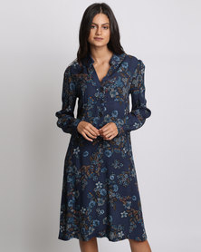 Chica-Loca Floral Button Down Shirt Dress Blue